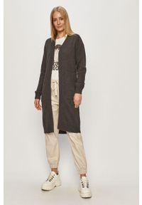 Szary sweter rozpinany Jacqueline de Yong z długim rękawem, długi, na co dzień