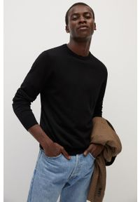 Czarny sweter Mango Man z okrągłym kołnierzem, długi, na co dzień, casualowy