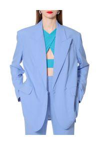 AGGI - Niebieska marynarka Blair. Kolor: niebieski. Materiał: tkanina, jedwab. Długość: długie. Sezon: lato