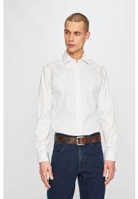 Biała koszula Selected elegancka, długa, z klasycznym kołnierzykiem, gładkie