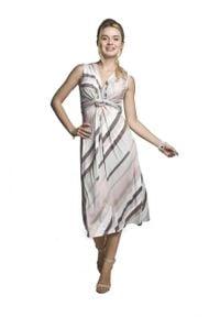 e-margeritka - Sukienka ciążowa midi na ramiączkach - xl. Kolekcja: moda ciążowa. Materiał: tkanina, poliester, elastan, materiał. Długość rękawa: na ramiączkach. Sezon: lato. Styl: wakacyjny, elegancki. Długość: midi