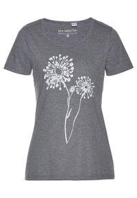 T-shirt bonprix szary melanż. Kolor: szary. Wzór: melanż