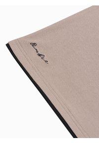 Ombre Clothing - Koszulka męska polo bawełniana S1382 - jasnobrązowa - XXL. Typ kołnierza: polo. Kolor: brązowy. Materiał: bawełna. Wzór: nadruk. Styl: klasyczny