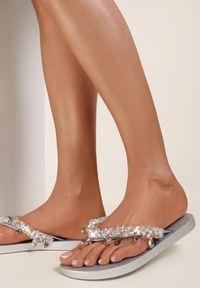 Renee - Srebrne Japonki Olexera. Kolor: srebrny. Materiał: guma. Wzór: paski, aplikacja. Styl: wakacyjny #3