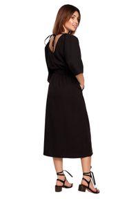 Czarna sukienka BE midi, na co dzień, prosta, casualowa
