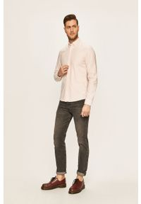 Różowa koszula Calvin Klein button down, na co dzień, casualowa, długa