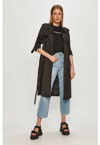 Czarny płaszcz Calvin Klein na co dzień, gładki