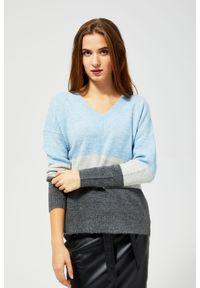 Sweter MOODO z dekoltem w serek, w paski, z długim rękawem