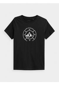 4f - T-shirt basic regular z nadrukiem damski. Kolor: szary. Materiał: dzianina, bawełna, materiał. Wzór: nadruk. Sport: snowboard