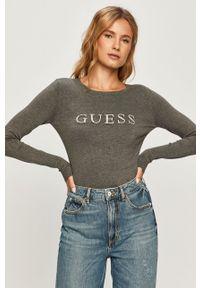 Szary sweter Guess Jeans z długim rękawem, z aplikacjami, z okrągłym kołnierzem, długi