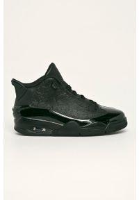 Czarne sneakersy Jordan z cholewką, na sznurówki, z okrągłym noskiem