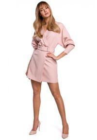 MOE - Żakietowa kopertowa sukienka smokingowy kołnierz. Materiał: elastan. Typ sukienki: kopertowe. Styl: klasyczny. Długość: mini
