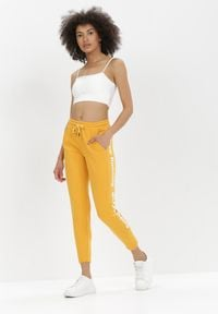 Born2be - Żółte Spodnie Dresowe Zeuxisei. Kolor: żółty. Materiał: dresówka