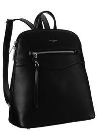 DAVID JONES - Plecak damski czarny David Jones 6263-2 BLACK. Kolor: czarny. Materiał: skóra ekologiczna