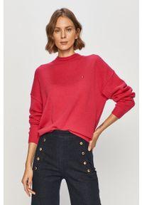 Różowy sweter TOMMY HILFIGER z długim rękawem, długi