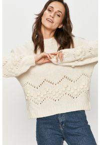 Biały sweter Answear Lab wakacyjny, z długim rękawem, długi