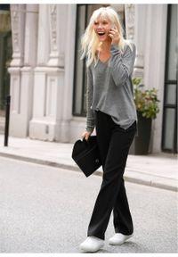 Spodnie ze stretchem BOOTCUT bonprix czarny. Kolor: czarny