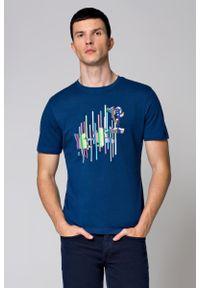 Niebieski t-shirt Lancerto z aplikacjami, klasyczny, z klasycznym kołnierzykiem