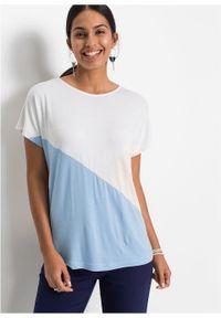 """Shirt """"color-blocking"""" bonprix biało-beżowo-jasnoniebieski. Kolor: biały. Długość rękawa: krótki rękaw. Długość: krótkie #2"""
