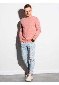 Ombre Clothing - Bluza męska bez kaptura z nadrukiem B1160 - różowa - XXL. Typ kołnierza: bez kaptura. Kolor: różowy. Materiał: bawełna, poliester. Wzór: nadruk