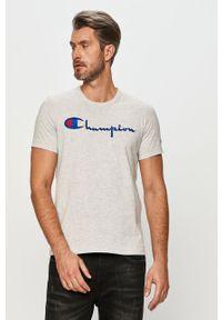 Szary t-shirt Champion na co dzień, casualowy, z aplikacjami