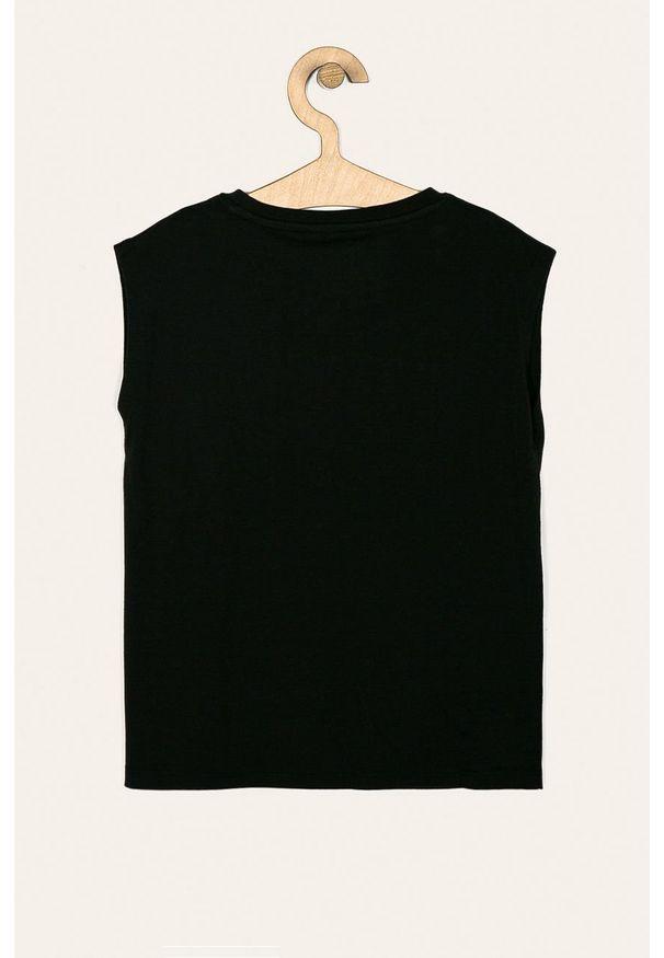 Czarna bluzka z krótkim rękawem Pepe Jeans z aplikacjami, z okrągłym kołnierzem