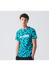 Turkusowy t-shirt Cropp z nadrukiem