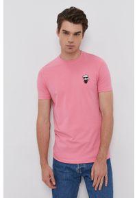 Karl Lagerfeld - T-shirt. Kolor: różowy. Materiał: dzianina. Wzór: aplikacja