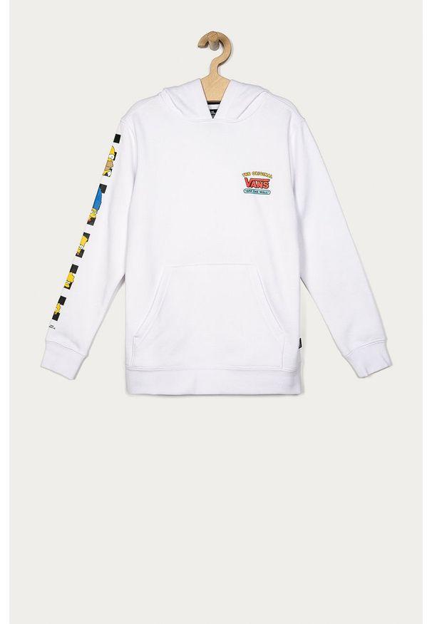 Biała bluza Vans z nadrukiem, z kapturem