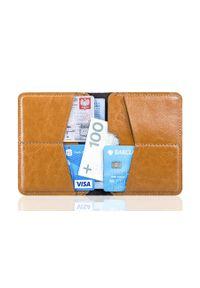 Cienki skórzany portfel męski Solier SW10 jasnobrązowy. Kolor: brązowy. Materiał: skóra
