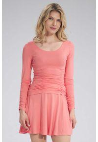 Figl - Gładka Rozkloszowana Spódnica Mini na Gumie - Koralowa. Kolor: pomarańczowy. Materiał: guma. Wzór: gładki