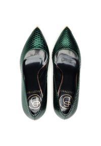 Zielone szpilki Baldowski eleganckie, z aplikacjami, na szpilce