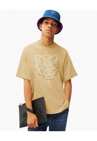 Kenzo - KENZO - Beżowa koszulka Tiger. Kolor: beżowy. Wzór: haft, aplikacja. Styl: klasyczny
