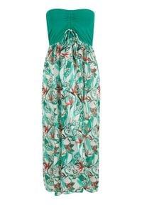 Sukienka plażowa bandeau bonprix zielony miętowy w kwiaty. Okazja: na plażę. Kolor: zielony. Wzór: kwiaty