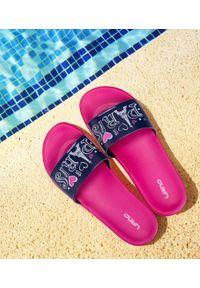 LANO - Klapki damskie basenowe Lano KL-3-7159-1 Granatowe. Okazja: na plażę. Kolor: niebieski. Materiał: guma. Obcas: na obcasie. Wysokość obcasa: niski
