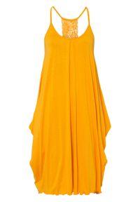 Sukienka z koronką bonprix żółto-pomarańczowy. Kolor: żółty. Materiał: koronka. Wzór: koronka