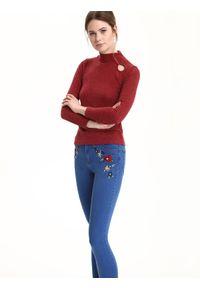 Czerwony sweter TROLL z golfem, w kolorowe wzory, casualowy #7