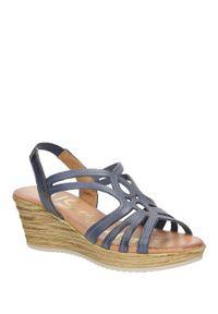 Oh My Sandals - sandały skórzane na koturnie oh my sandals 3480. Okazja: na co dzień. Kolor: niebieski. Materiał: skóra. Sezon: lato. Obcas: na koturnie. Styl: casual