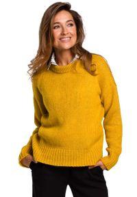 Pomarańczowy sweter oversize MOE klasyczny, z klasycznym kołnierzykiem