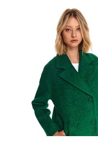 TOP SECRET - Dwurzędowy płaszcz z boucle. Kolor: zielony. Materiał: wełna