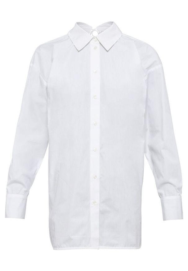 Długa bluzka z ozdobnym sznurowaniem z tyłu bonprix biały. Typ kołnierza: kołnierzyk koszulowy. Kolor: biały. Długość: długie