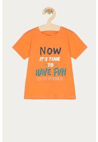 Pomarańczowy t-shirt Name it na co dzień, z nadrukiem, casualowy