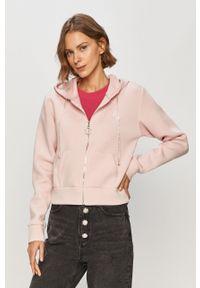 Różowa bluza rozpinana Guess na co dzień, z kapturem, casualowa