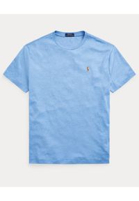 Ralph Lauren - RALPH LAUREN - Niebieski t-shirt Custom Fit Soft Cotton. Typ kołnierza: polo. Kolor: niebieski. Materiał: bawełna. Wzór: kolorowy, haft