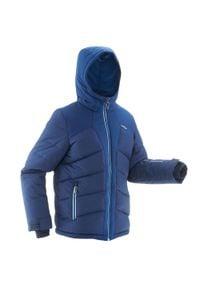 WEDZE - Kurtka narciarska WARM 500 dla dzieci. Kolor: niebieski. Materiał: materiał. Sezon: zima. Sport: narciarstwo