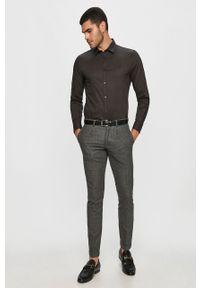 Czarna koszula Trussardi Jeans długa, na co dzień, z klasycznym kołnierzykiem