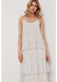 Samsoe & Samsoe - Samsoe Samsoe - Sukienka. Kolor: biały. Materiał: tkanina, poliester. Długość rękawa: na ramiączkach. Typ sukienki: plisowane, rozkloszowane #5