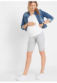 Niebieskie spodnie bonprix moda ciążowa, w paski