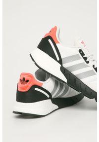Białe sneakersy adidas Originals z okrągłym noskiem, z cholewką