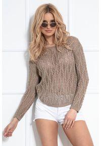 Sweter oversize Fobya klasyczny, w ażurowe wzory, z klasycznym kołnierzykiem